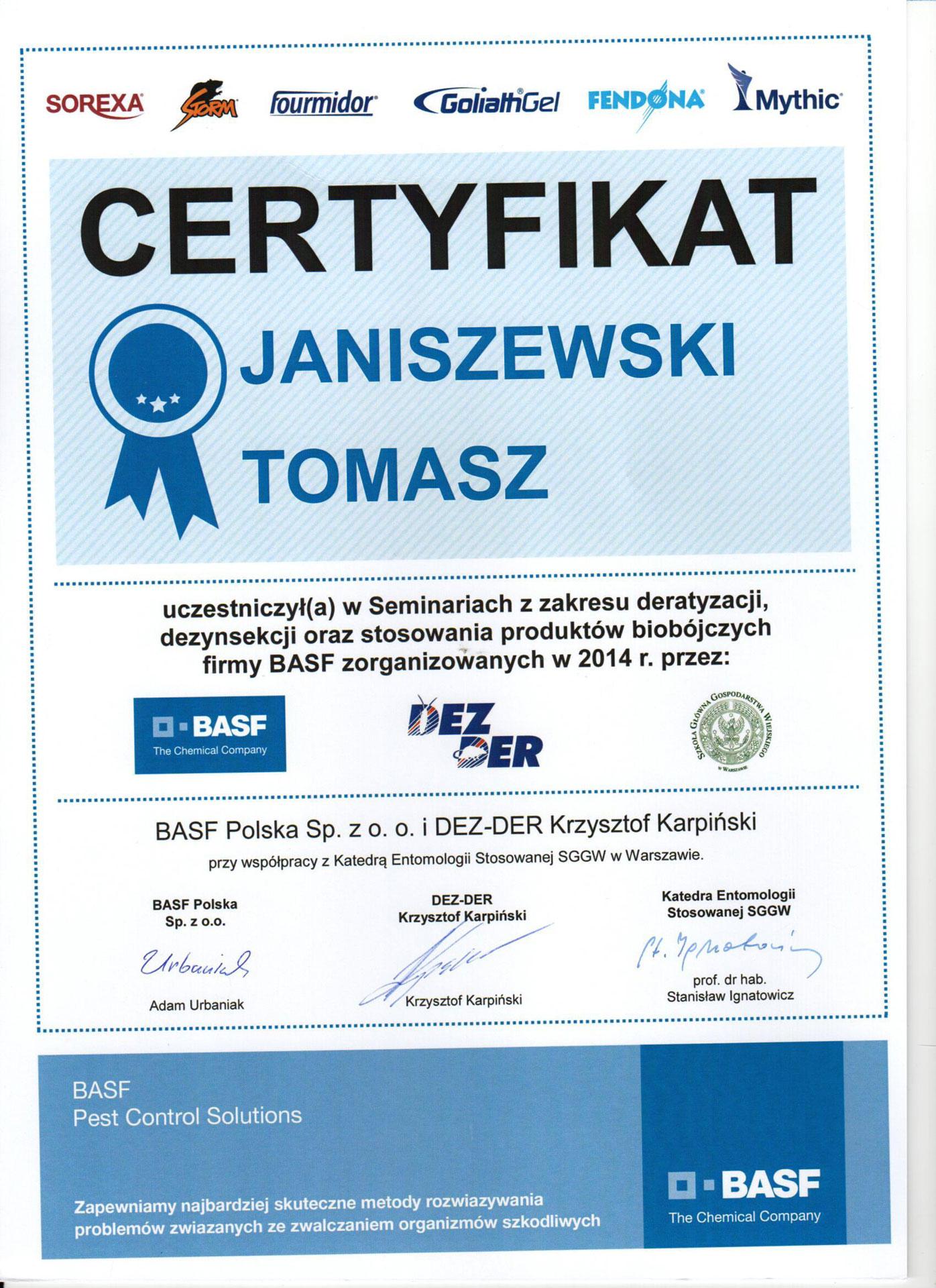Seminarium z zakresu deratyzacji, dezynsekcji oraz stosowania produktów biobójczych firmy BASF