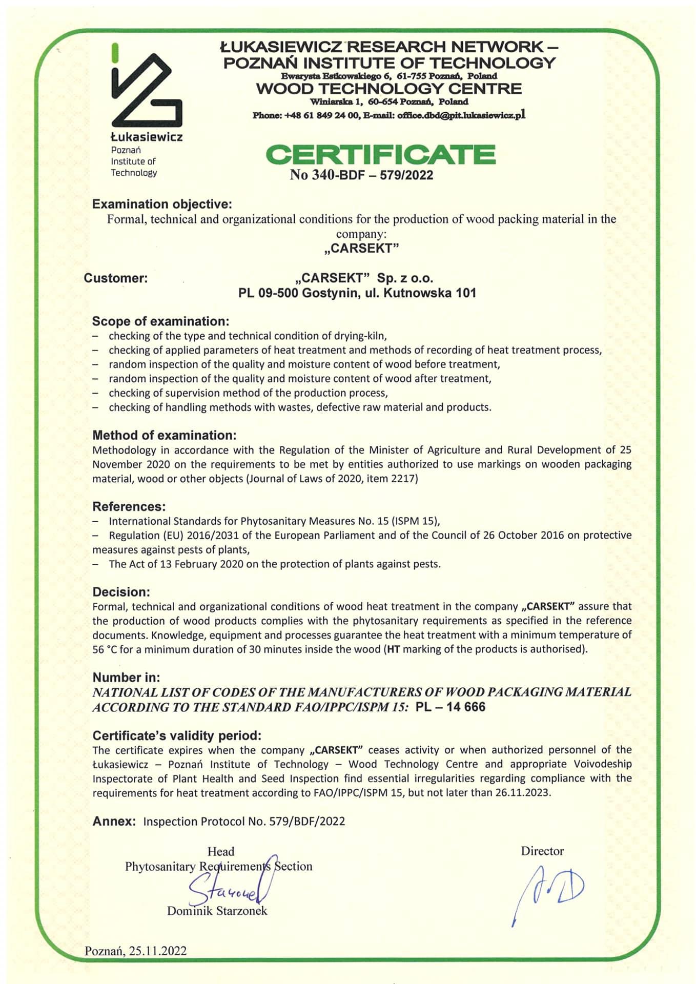 Warunki techniczne i organizacyjne produkcji opakowań z drewna